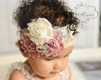 Dusty Rose Headband/Baby Headband/Baby Girl Hair Accessories/Infant Headband/Baby Girl Headband/Girl Headband Baby/OohLaLaDivasandDudes
