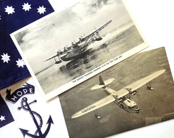 Airplane Post Cards Set of Two- 1930s Sikorsky/ Lindberg Pan Am Clipper -Sea Planes ~ Early Aviation & Military Memorabilia   /0494