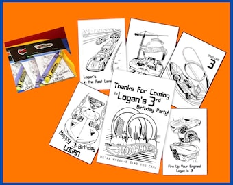 Hot Wheels Personalized Coloring Book - emailed as a pdf file