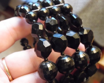 Pretty Black Bead Stretch Bracelet Cuff.