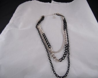 Black and Silver 3 Chain Necklace.
