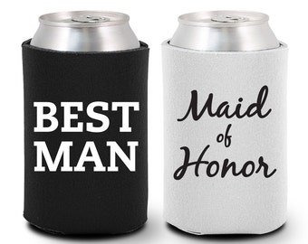 Maid of Honor Can Coolers - Best Man Can Coolers (BG1008) Maid of Honor Gift - Best Man Gift - Maid of Honor Coolies - Best Man Coolies