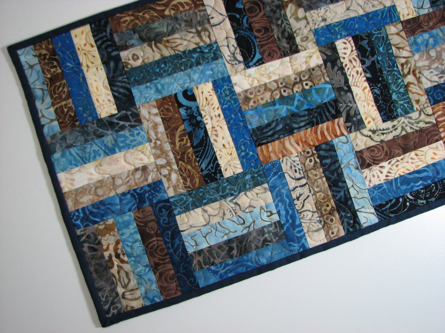 Quilted Table Runner Batik Table Runner Scrappy