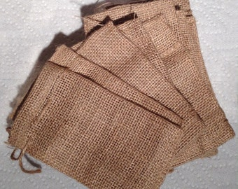 4 x 6 Drawstring Burlap Bags - lot of 12