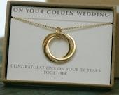 5th anniversary gift 5 interlocking circles necklace golden wedding anniversary gift 5th wedding anniversary gift  Lilia