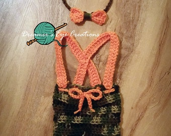 Camo Outfit, Crochet Set, Newborn