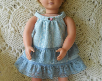 Blue laced top and skirt set for 18-inch doll