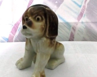 Small Puppy figurine, Beagle, Brown and White Dog, Puppy
