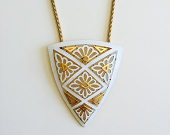 Vintage Trifari Geometric Shield Necklace
