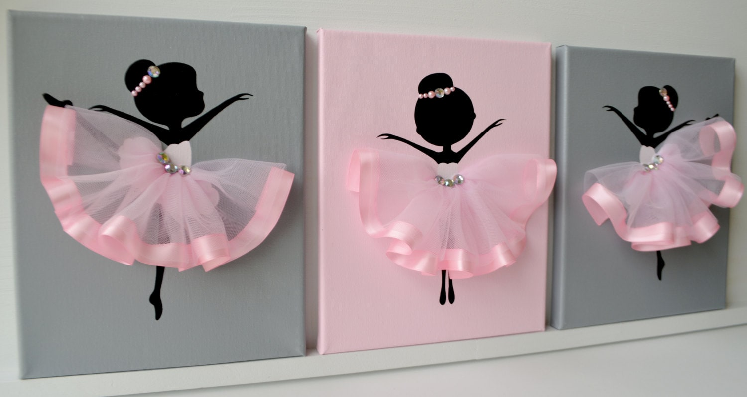 Ballerina nursery wall art pink and grey ballerina decor for Pink wall art