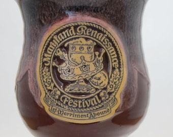 Vintage 1995 Souvenir Maryland Renaissance Festival Let Merriment Abound Pottery Stoneware Chalace Goblet Cup