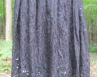 Sale - Sale -Black Lace Skirt with clear sequins