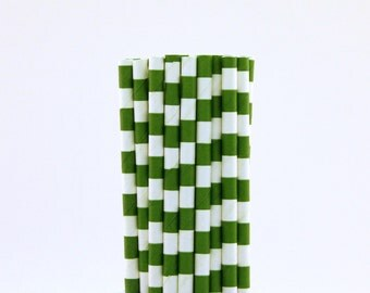 Green Rugby Horizontal Striped Paper Straws-Green Straws-Woodland Party Straws-Wedding Paper Straws-Forest Green Party Decor-Striped Straws