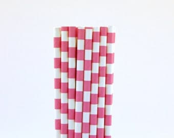 Hot Pink Rugby Horizontal Striped Paper Straws-Hot Pink Straws-Valentines Day Straws-Princess Party Straws-Gender Reveal Party-Pink Straws