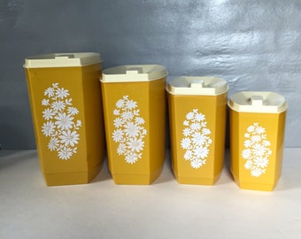 Vintage 8 Piece Mustard Yellow and White Cannister Set