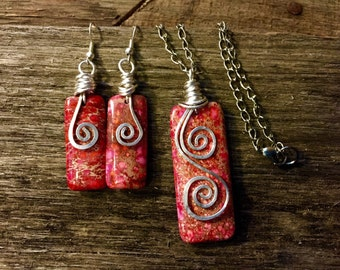 Wire wrapped necklace/earring set