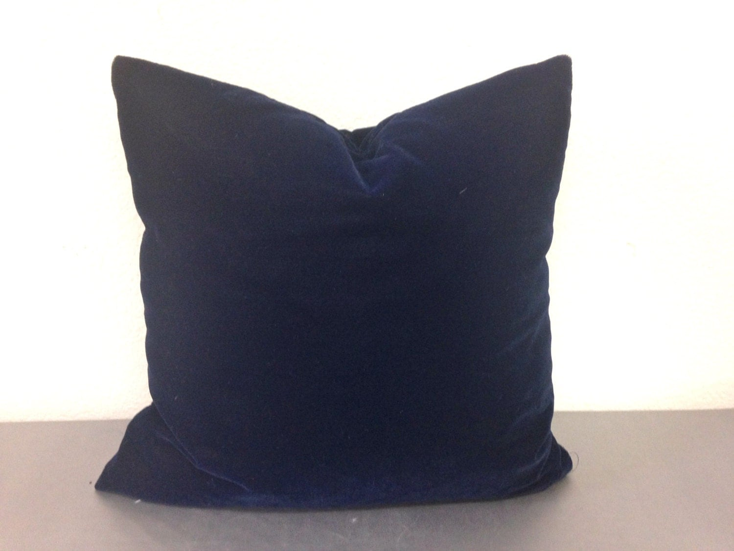 Navy Blue Velvet Decorative Throw Pillow Cover / by pillowpuff