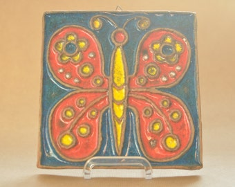 Erhard Goschala Wall tile - Butterfly - Meuselwitz - East-German pottery - Wall plate - Mid Century modern - DDR