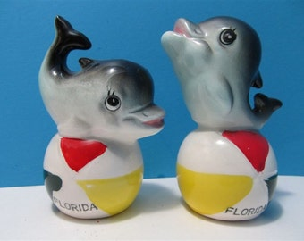 Vintage Ceramic Florida Dolphins & Ball Salt and Pepper Shakers Fish Beach Ocean Japan