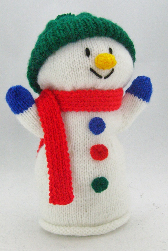 Puppet Gloves Knitting Pattern : Knitting Pattern Snowman Hand Glove Puppet by KnittingByPost