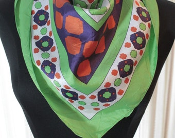 "Vtg Ruza Scarf Wrap Vintage Satiny 25"" Square Bright Geometric Green White Red Print 1960's"