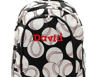 Personalized Baseball Backpack Monogrammed Bookbag Black White Nautical Girls Large Canvas Kids Tote School Bag Embroidered Monogram Name