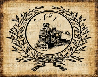 Victorian frame with train number 1 fancy script burlap fabric Digital Image Download Transfer File 8,5x11 in JPG and PNG Buy 2 get 1 Free