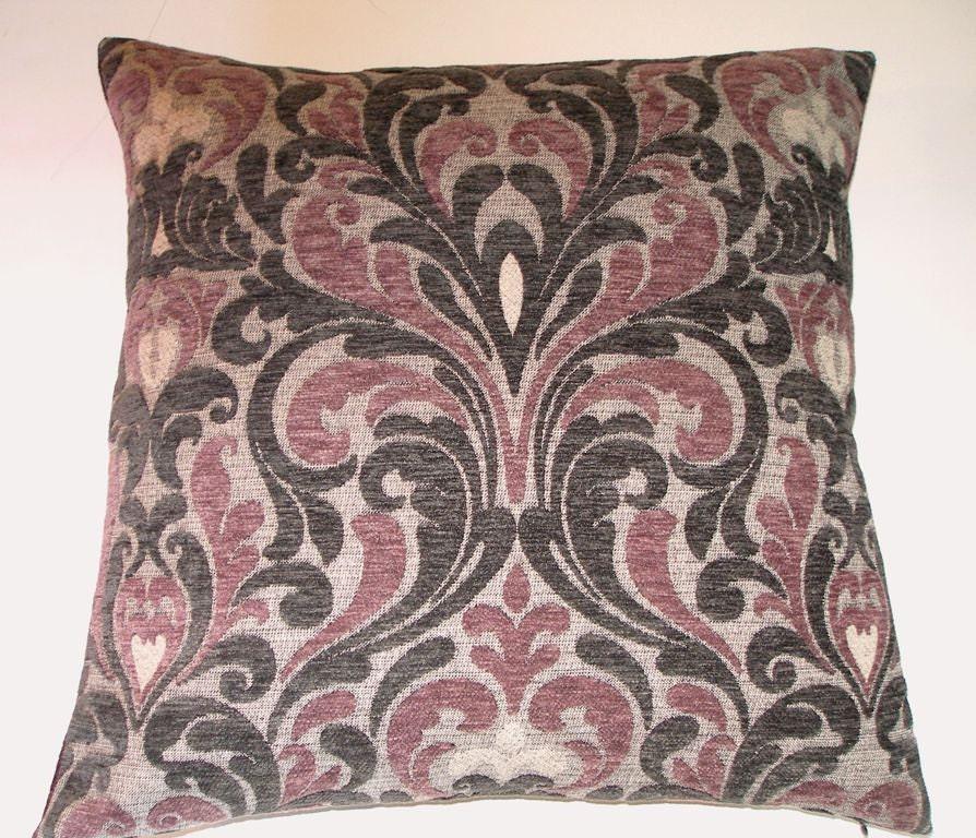 Throw Pillows Printing : Dark Plum Gray Ikat Velvet Throw Pillow Cover 20 x 20