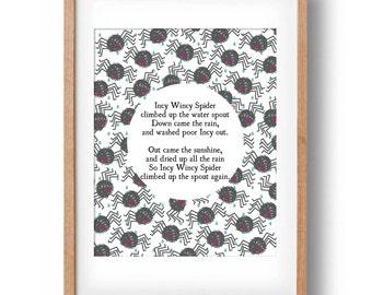 Incy Wincy Spider Nursery Rhyme Printable wall decor | Nursery Wall Decor| Nursery Art | INSTANT DOWNLOAD