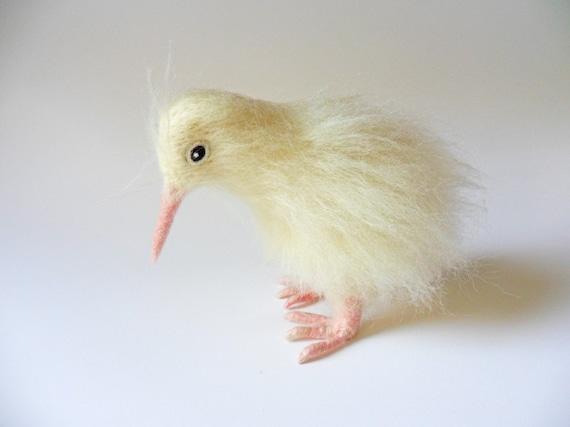 Needle Felted Rare White Kiwi Bird Sculpture Wool Animal