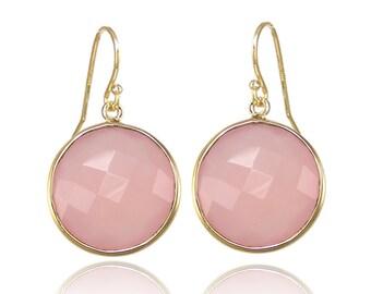 Pink Chalcedony earring - Silver Earring - Gemstone earring - gold round earring - Large Gemstone Earring - Statement Earring - Dangle drop