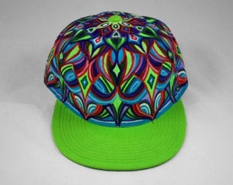 SALE: Hand Painted Mandala Snapback Hat, Custom Hand Painted Hat, Mandala Snapback