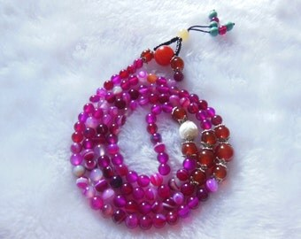 Free Delivery natural ice pink agate 6mm beads rosary 108 beads mala bracelet
