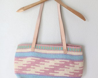 vintage leather native striped woven jute tote bag