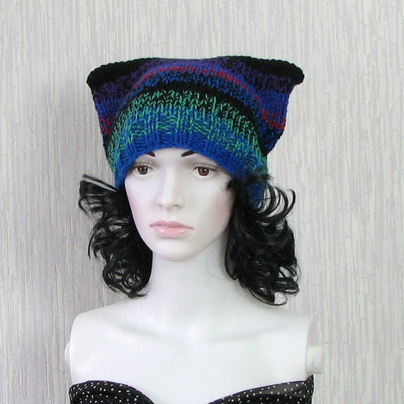 Colorful Cat Hat Knit Cat Ears Hat or Cat Beanie by DamovFashion