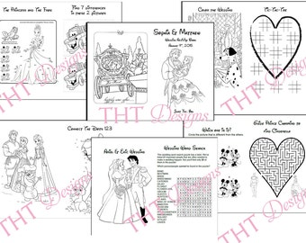disney theme wedding activity book printable wedding printable coloring pages for kids personalized - Kids Wedding Coloring Book