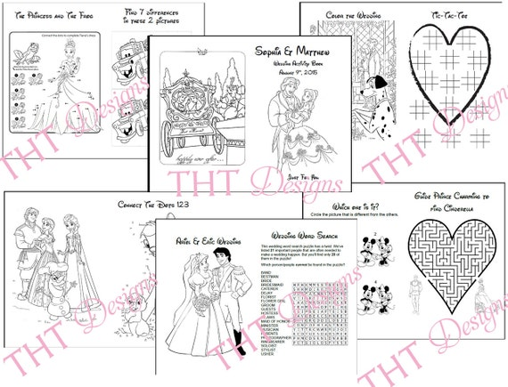 disney theme wedding activity book printable wedding printable coloring pages for kids personalized