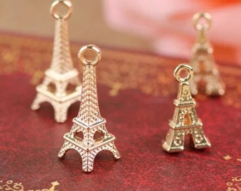 DIY  jewelry 15 pcs antique gold the Eiffel Tower  charm pendant 16mm