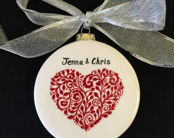 Couples first Christmas Ornament, Holidays, Engagement, Wedding, Anniversary gift