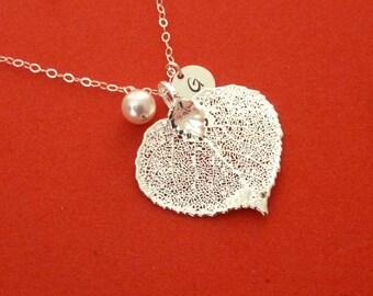 Silver Aspen Leaf Necklace, Real Leaf, Aspen Jewelry, Fall Wedding, Fall Jewelry, Natural Leaf, Leaf Jewelry, Automn Wedding, Personalized
