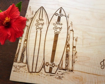 Personalized Surfboard Cutting Board Surf Decor Coastal Wedding Present Bridal Shower Gift Anniversary Surf Rider Gift Beach Kitchen Decor