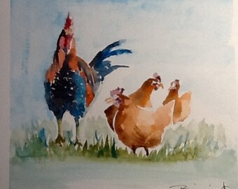 """original Watercolour painting,""""Three French Chicks"""",, free shipping in North America and UK!"""