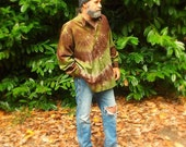 Tie Dye Oxford Button Up Shirt,  OOAK Chocolate Brown and Avocado Green 100% Cotton Unisex Medium Weight Long Sleeved