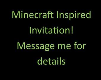 Minecraft Inspired Birthday Invitation
