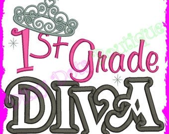 1st Grade Diva, First Grade diva, Back to School Diva Machine Embroidery design 176