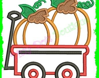 Wagon with Pumpkins  Halloween Machine Embroidery Applique