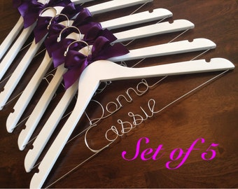 HUGE SALE Set of 5 Personalized Hangers/ Bride/ Wedding Dress Hanger/Bridal Gift/ bridal party GIFTS/ wire hanger/ wedding hanger