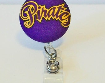 Purple and Gold Pirates Fabric Button Retractable Badge Reel Clip