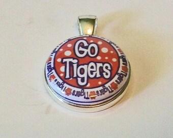 Unique Orange and Purple Go Tigers Round Silver Pendant