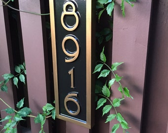 Vertical Address Sign - Create your own House number - Custom Carved Signs